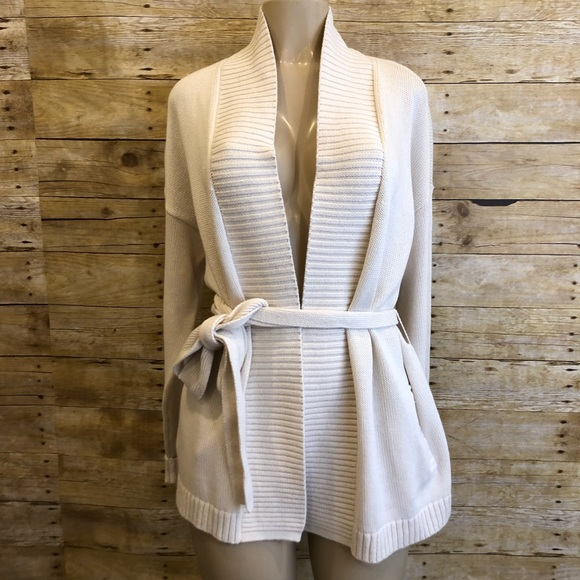 LOFT Sweaters - NWT LOFT | Cream Knit Tie Waist Cardigan Large